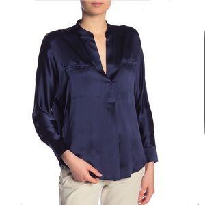 VINCE Split Neck Solid Silk Blouse Navy Blue Sz M